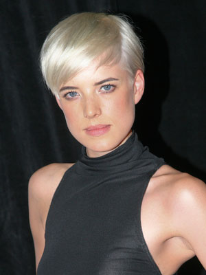 short pixie straight perl blonde
