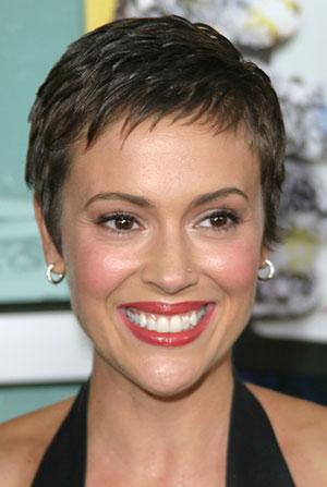 Alyssa Milano short hair with short fringe