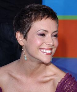 Alyssa Milano, short hair, purple dress