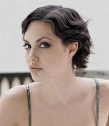 Angelina Jolie with short wavy hair