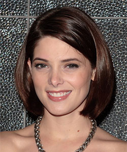 Ashley Greene with side part cute bob hairstyle