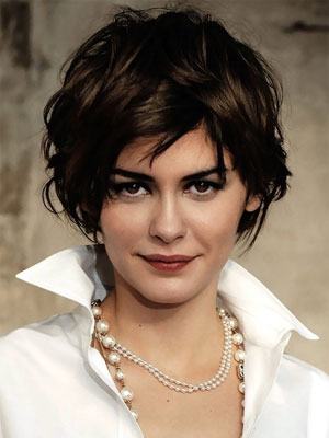 Audrey Tautou with tousled wavy hair
