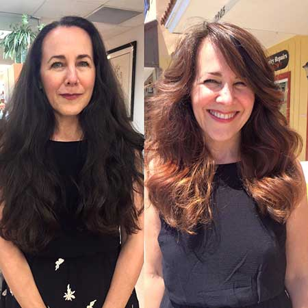 balayage color on long hair before after image - front view