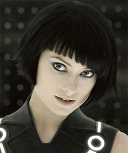 Olivia Wilde in movie Tron with beautiful short blunt bob and black hair color