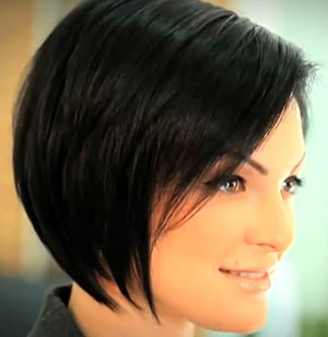 bob haircut classic in black hair color side view with