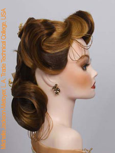 bridal updo design with artificial flowers side view