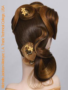 bridal updo design with artificial flowers front view
