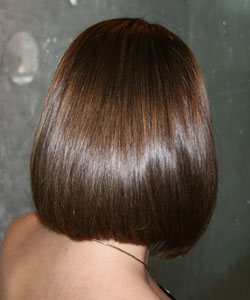 Brunette with caramel highlight back view
