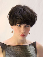 catwalk model short hair in black