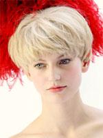catwalk model short blond hair