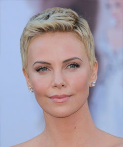 charlize theron with very short pixie hair