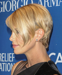 Charlize theron with short hair charlize theron with longer side fringe charlize theron profile view in 2014 urmus Image collections