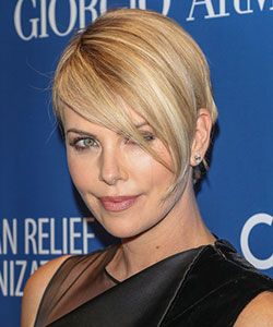 Charlize Theron With Longer Side Fringe
