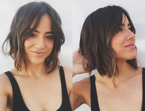 Chloe Bennet with shorter haircut for the role of Skye