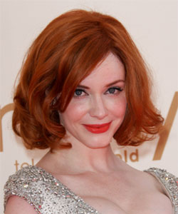 wavy length bob with red hair color - Christina Hendricks