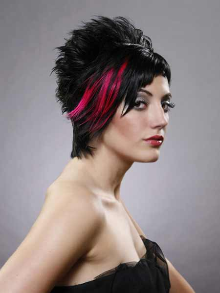short hair in updo with black hair color with bright red on side