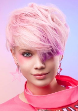 pink hair color with violet highlight