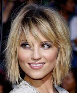 Dianna Agron with wavy bob and shag crossed hairstyle