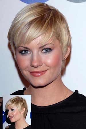 Elisha Cuthbert with short crop in blonde
