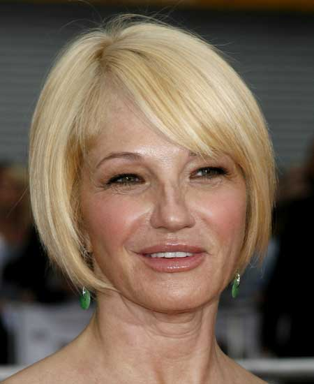 Ellen Barkin, side bangs, similar to inverted bob