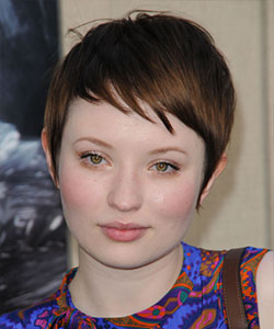 emily browning and pixie haircut red brown hair color and wispy fringe