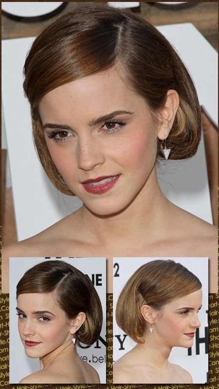 Emma Watson with her new faux bob hairstyle in three different views