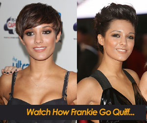 Frankie Sandford with short hair updo