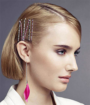 decorated colorful hair pins on bob hairstyle