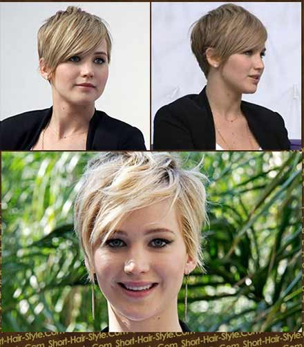 Jennifer Lawrence with her new short hair cut