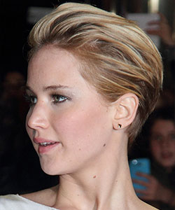 Jennifer Lawrence Slick Back quiff updo side view in profile