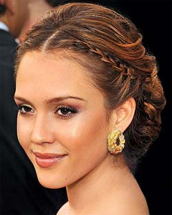 jessica alba with small side braid
