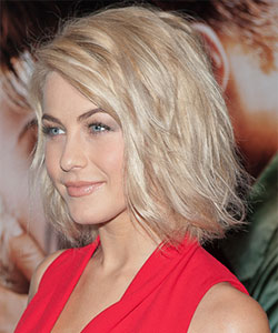 Julianne Hough with wavy style and tousled effect style - profile view