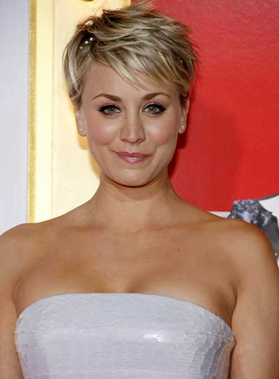 kaley with fantastic pixie hair cut in messy style in Strapless dress Kaufman Franco