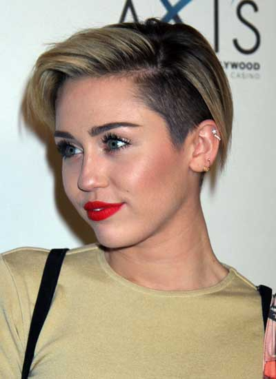 Miley Cyrus undercut with side bangs