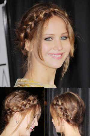Jennifer Lawrence with milkmaid braid