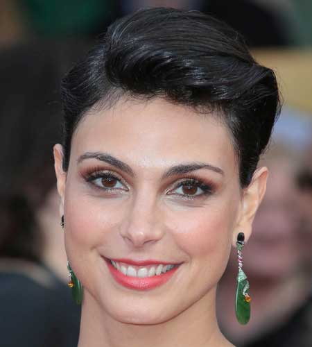Morena Baccarin with sleek-back hair