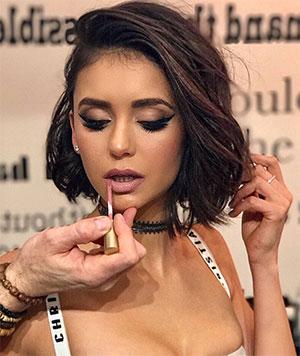 Nina Dobrev short hair glossy lips