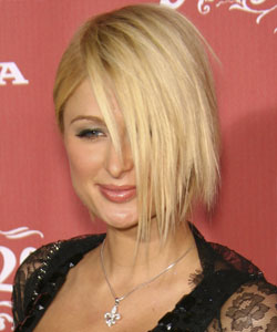 Paris Hilton with long side bangs - profile view October 2007