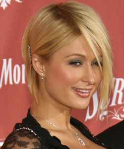 Paris Hilton with long side bangs - Side view October 2007