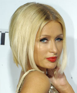 Paris Hilton with straight mid-part hair - Side view February 2009