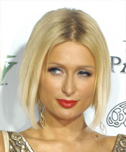 Paris Hilton with straight mid-part hair - profile view February 2009
