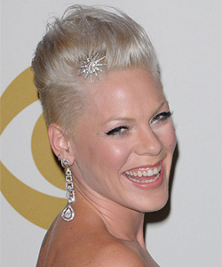 Pink wearing a star shape hair pink on front of her hair