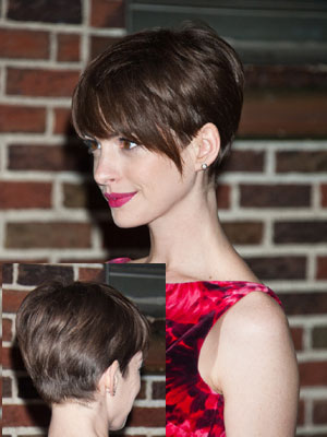 Anne Hathaway With Pixie Haircut In Brown Hair Color
