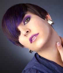 cute short hair with purple and blue color tones