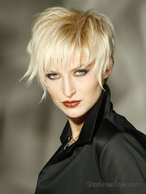 mature and stylish light blonde with razor cut