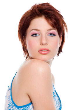 profile og girl with short red hair
