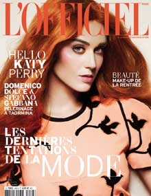 Katy Perry in red copper hair color cover of L'Officiel