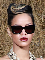 Rihanna with sculpted hair style