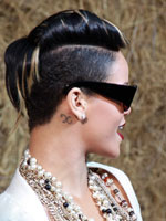 Rihanna with sculpted hair and short side