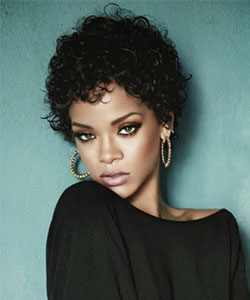 Rihanna with short curly hair,  fall 2013